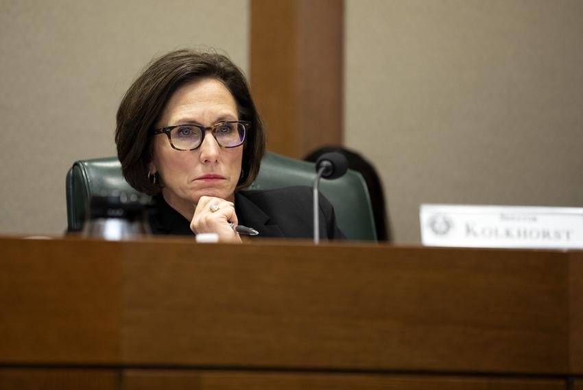 Sen. Lois Kolkhorst, R-Brenham, at a state Senate Committee on Nominations hearing for Texas Secretary of State David Whitle…