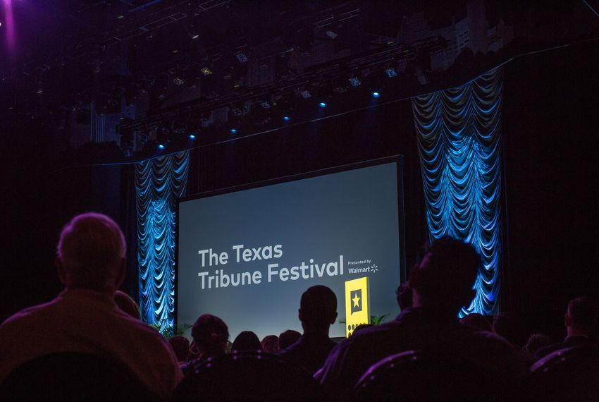 An audience watches the opening keynote with former Secretary of State John Kerry at The Texas Tribune Festival on Sept. 27, 2018.