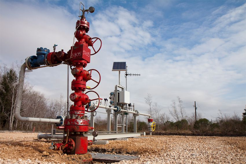 A pump at an Alvin, Texas oilfield uses carbon dioxide, piped in from Mississippi, to help extract oil.
