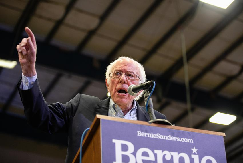 Bernie Sanders speaks to an enthusiastic crowd gathered at the Mesquite Rodeo Arena near Dallas for a campaign rally on Fe...