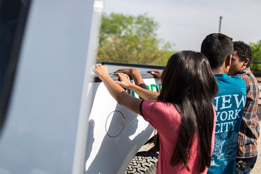 Unaccompanied child migrants from Honduras voluntarily turned themselves in to U.S. Border Patrol agents near Roma, Texas, on Mar. 8, 2016.