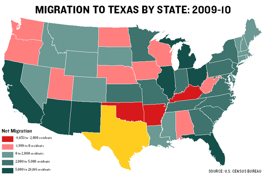 Show A Map Of Texas.Census Data Show Migration Patterns In Texas The Texas Tribune