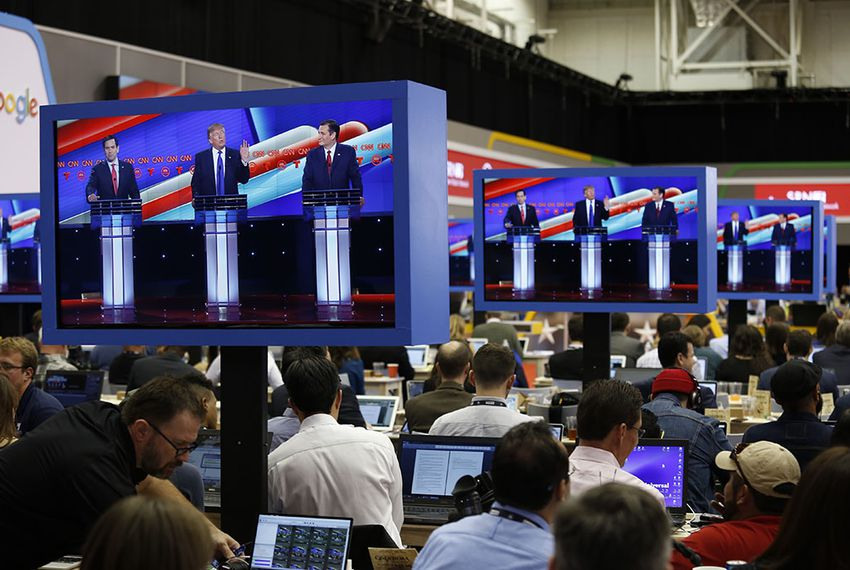 Reporters cover the GOP presidential debate at the University of Houston on Feb. 25, 2016.