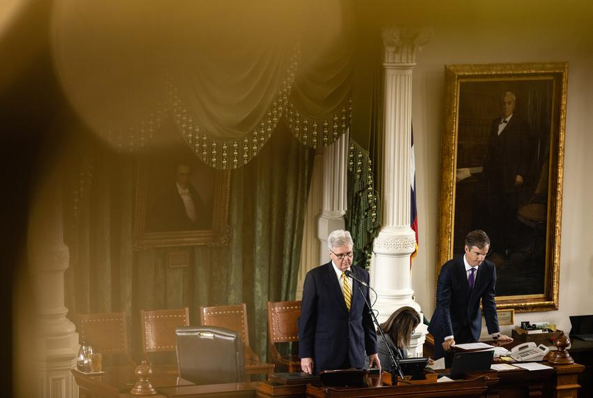Lt. Gov. Dan Patrick speaks from the podium in the Senate on the first day of the special session on July 8, 2021.