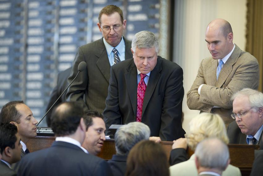 Republican State Reps.  Byron Cook (l), R-Corsicana, Burt Solomons (c), R-Carrollton, and Dennis Bonnen, R-Angleton, listen …
