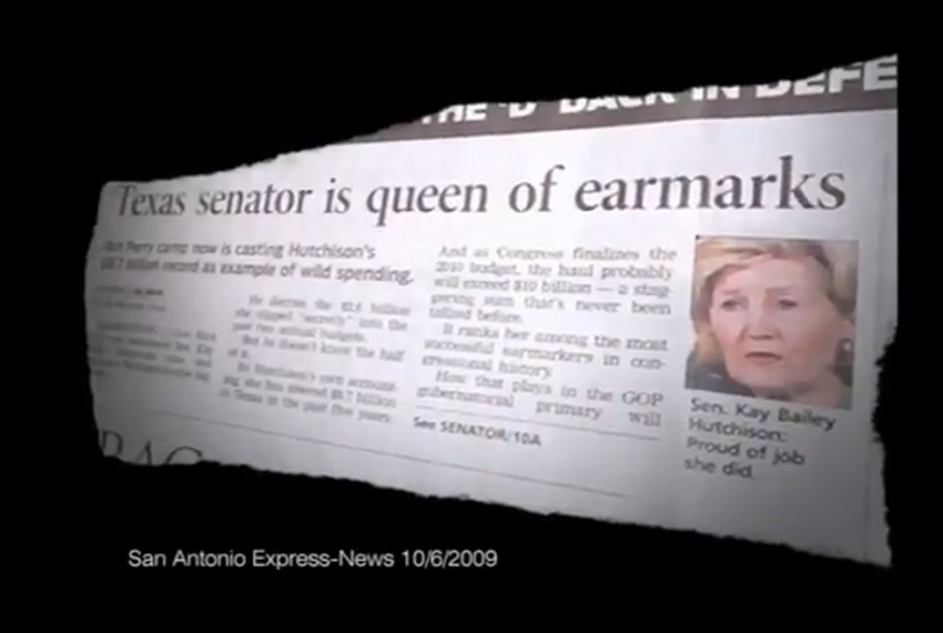 """Screen shot of Gov. Rick Perry's ad, """"The Queen."""""""