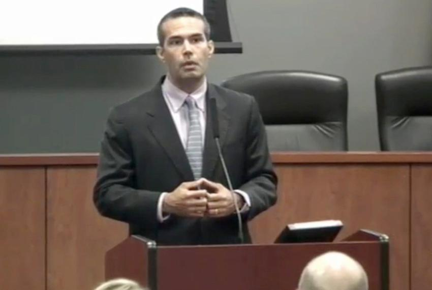 George P. Bush speaks to employees in late July 2015.