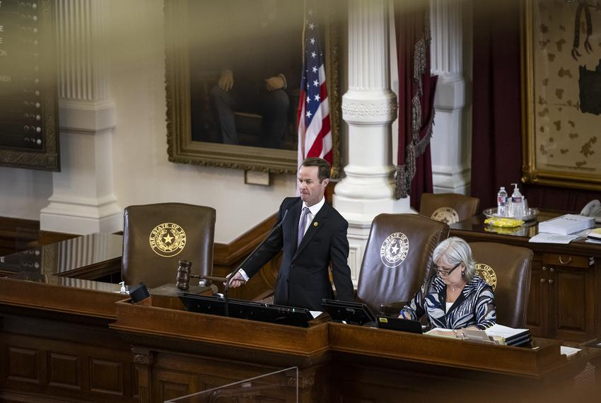 Speaker Phelan presides over the Texas House of Representatives on Thursday, April 22, 2021.