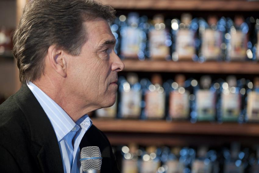 Gov. Rick Perry campaigning for president in Pella, Iowa, on Dec. 28, 2011.