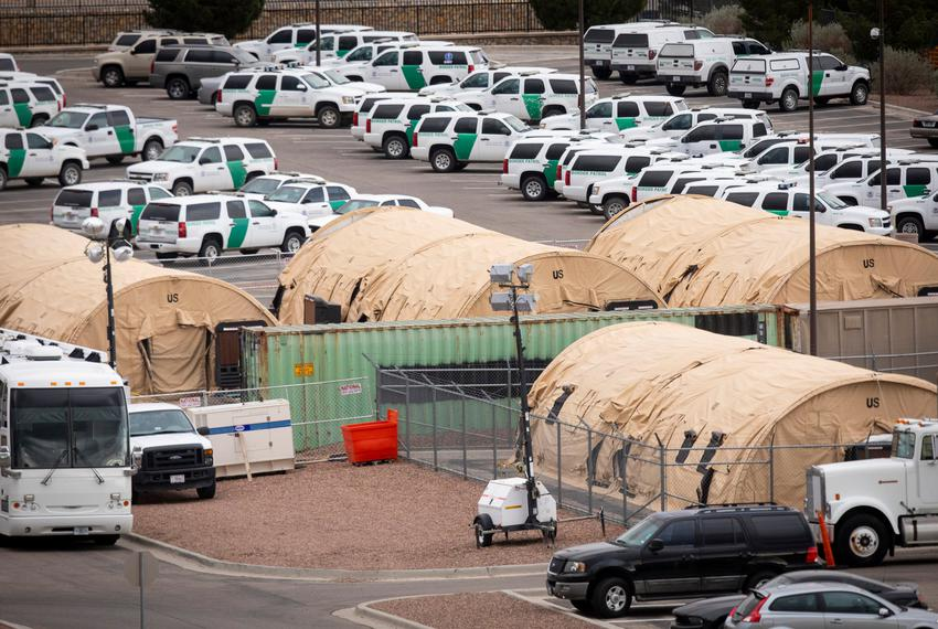Tents outside the Border Patrol station headquarters in in El Paso on Wednesday, April 17, 2019.