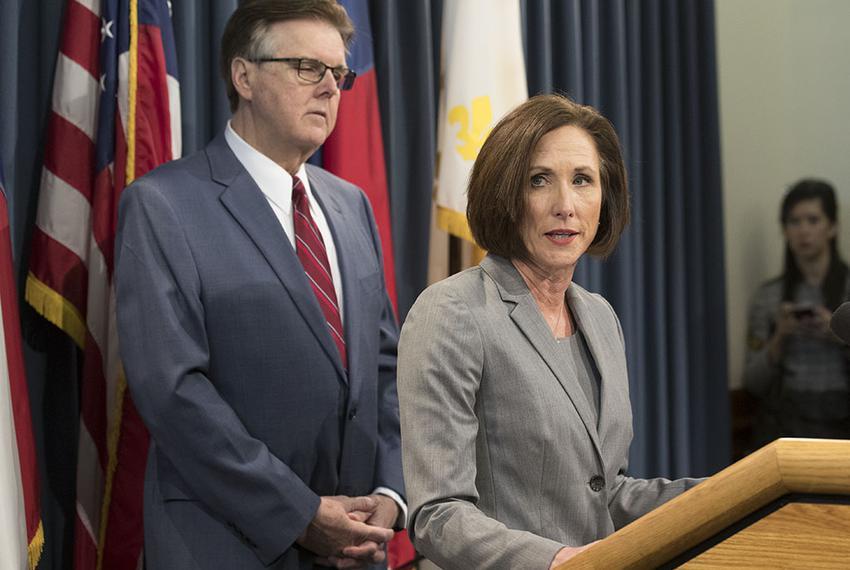 "State Sen. Lois Kolkhorst and Lt. Gov. Dan Patrick  discuss details of a so-called ""bathroom bill"" on Jan. 5, 2017."
