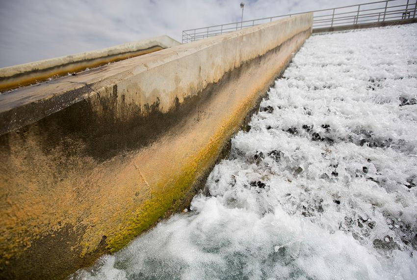 A cascade aerator on the site of the Twin Oaks Valley Water Treatment Plant outside of San Antonio, where the San Antonio Wa…