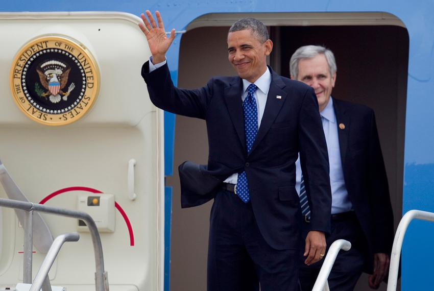 President Obama after landing in Austin on May 9, 2013.