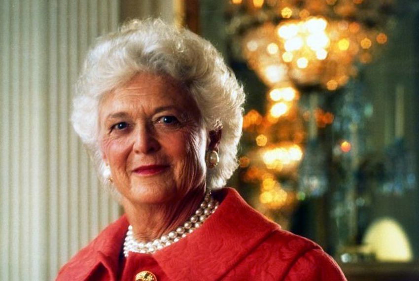 Former First Lady Barbara Bush in the White House East Room for an official White House portrait January 1992. Official White House portrait