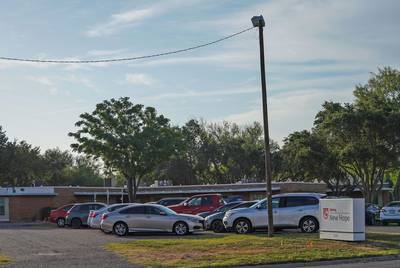 Exterior of Upbring New Hope, a government-funded migrant youth shelter in McAllen, on Sept. 4, 2018.