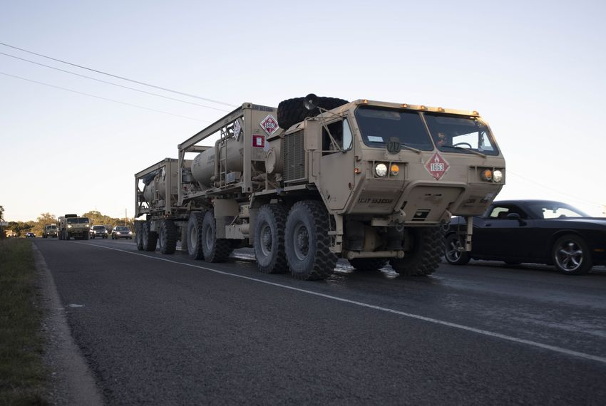 Units of the 1st Cavalry Division of the U.S. Army based at Fort Hood, Texas move south along U.S. 281 in Blanco County as convoys of troops head to the Texas-Mexico border on orders of President Donald Trump.