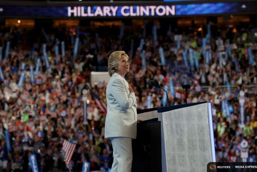 Democratic U.S. presidential nominee Hillary Clinton pust her hand on her heart as she delivers her nomination acceptance sp…