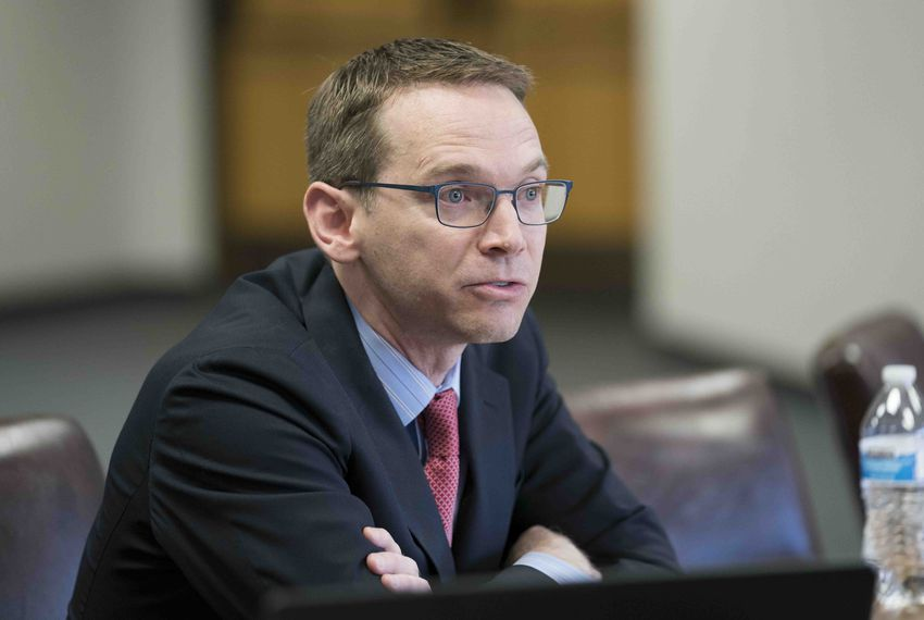 Texas Education Agency Commissioner Mike Morath testifies before the Texas Commission on Public School Finance about education outcomes on Jan. 23, 2018.