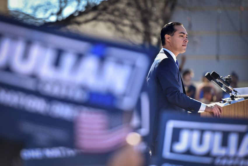 Julián Castro, the former Mayor of San Antonio and the former Director of House and Urban Development at his 2020 Democratic Presidential candidacy announcement in San Antonio.