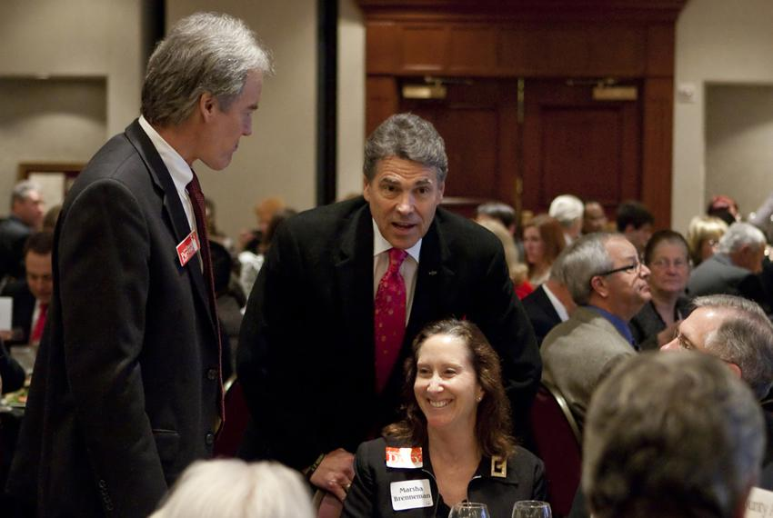 Gov. Rick Perry with supporters at Williamson County Republican dinner in Round Rock, his first public speech since leaving …