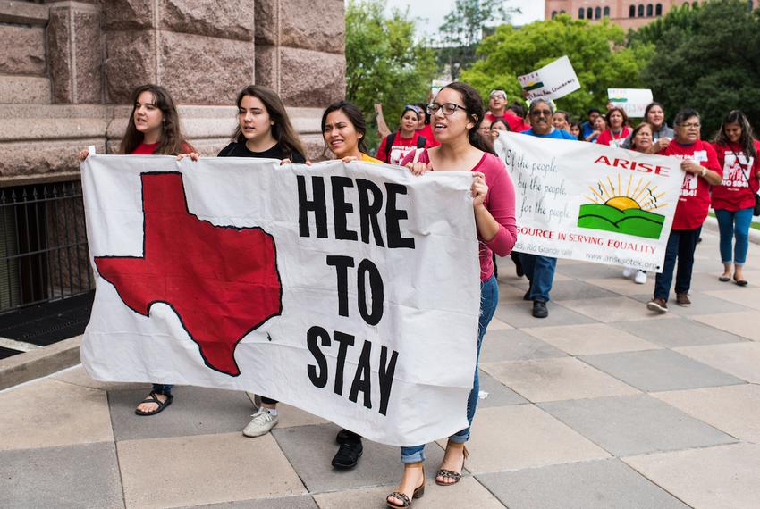 """Protesters against Senate Bill 4, the state's anti-""""sanctuary cities"""" law, march at the Texas Capitol on May 29, 2017."""