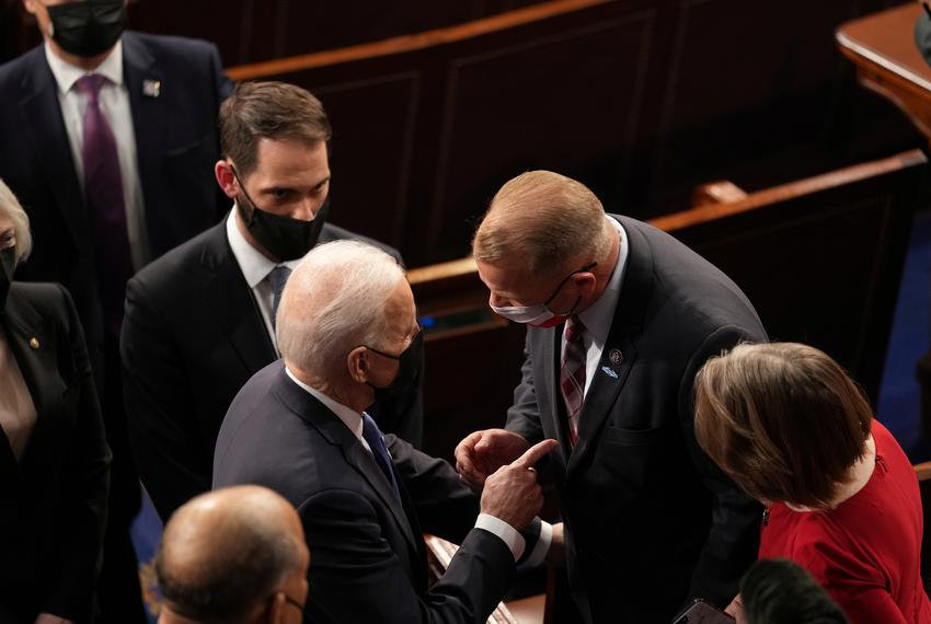 U.S. President Joe Biden briefly spoke with U.S. Rep. Troy Nehls, R-Texas, after delivering an address to a joint session of…