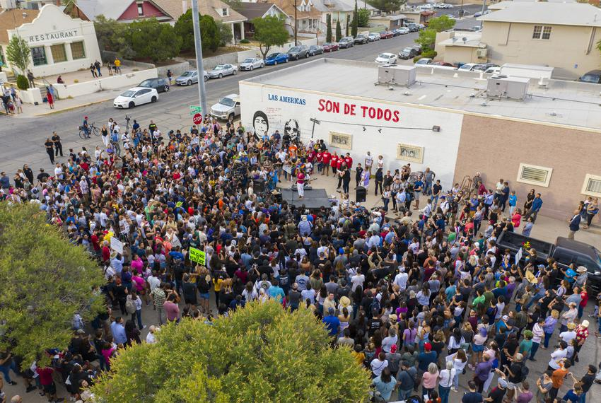 Rep. Veronica Escobar, D-Texas, speaks to a large crowd during a vigil for those that lost their lives to the mass shooting …