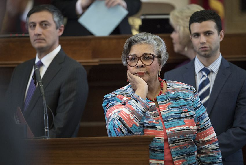 Longtime State Rep. Senfronia Thompson, D-Houston, appears exasperated by Liberty Caucus attempts to disrupt normal House business by challenges to the Local and Consent calendar during the session May 11, 2017.  Thompson is the chairman of the committee.