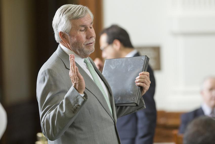 State Sen. Troy Fraser, R-Horseshoe Bay, on the Senate floor on April 23, 2015.