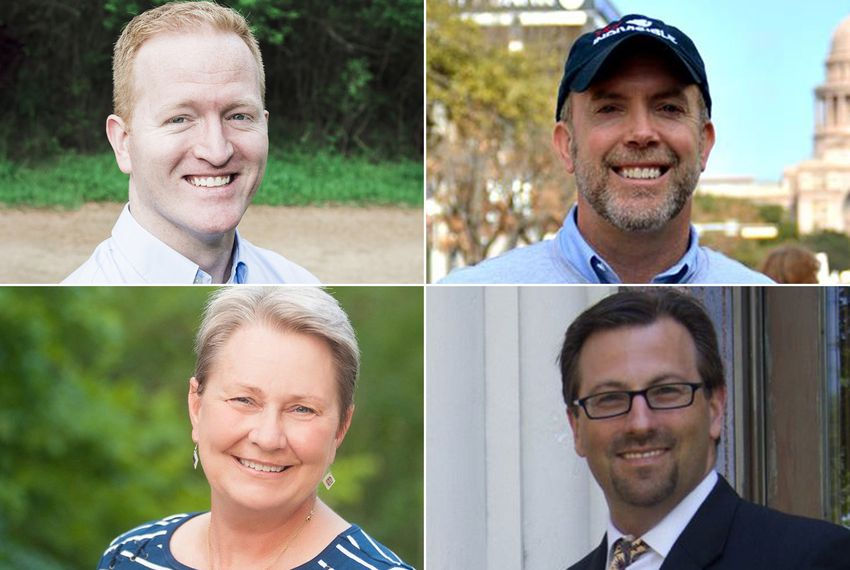 Clockwise from top left: Derrick Crowe,  Joseph Kopser, Elliott McFadden and Mary Wilson, the four Democrats vying for Congressional District 21, currently held by outgoing U.S. Rep. Lamar Smith, R-San Antonio.