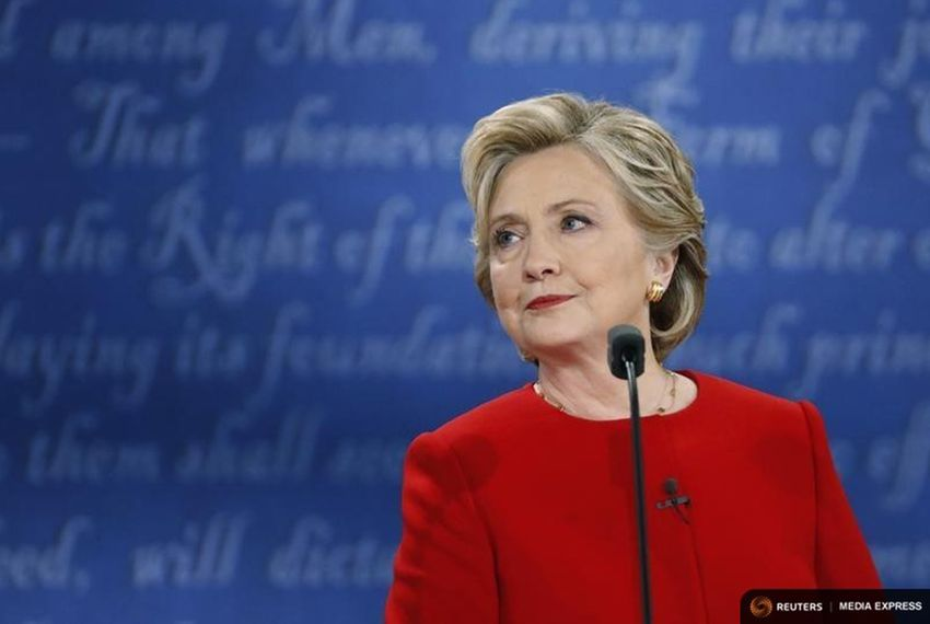 Democratic U.S. presidential nominee Hillary Clinton looks on during her first presidential debate against Republican U.S. presidential nominee Donald
