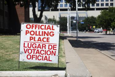 A polling site at Booker T. Washington High School in Dallas.