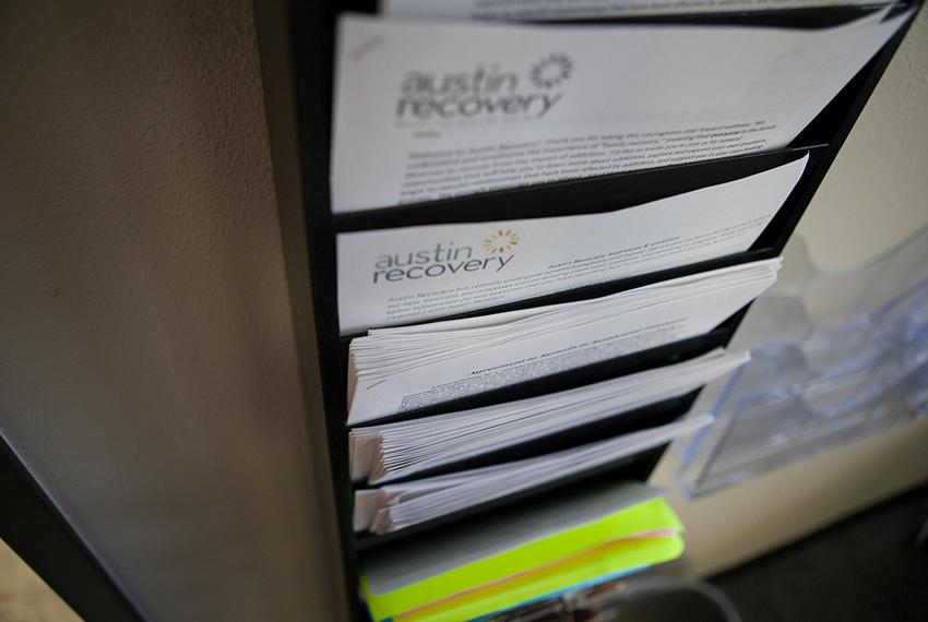 Information packets for those seeking help with substance abuse treatment at The Council on Recovery, formerly Austin Recove…