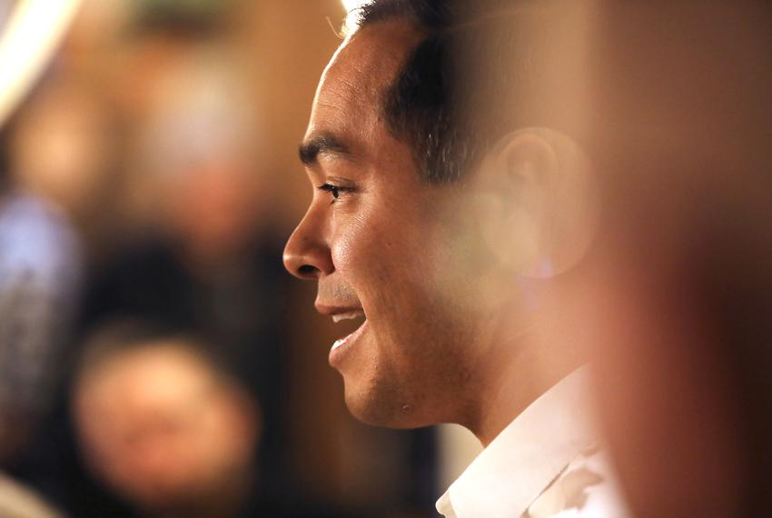 U.S. 2020 Democratic presidential candidate Julian Castro speaks during a campaign stop at The Livery Deli, in Boone, Iowa...