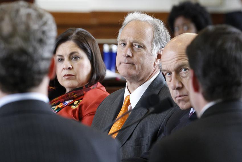 Senators Leticia Van de Putte (l), Kirk Watson (c) and John Whitmire (r) listen to David Campbell of Luminant at a public he…