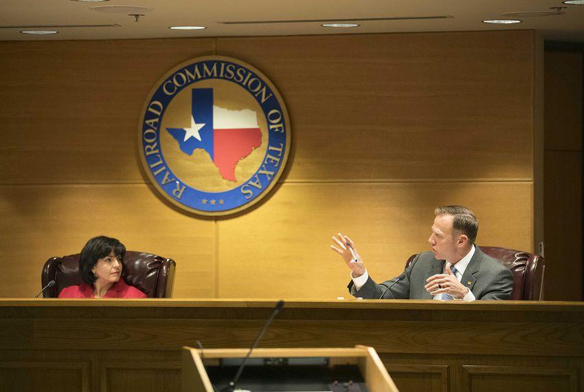 Chairman Christi Craddick and Commissioner Ryan Sitton at a Texas Railroad Commission meeting in Austin on Oct. 10, 2017.