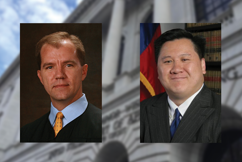 Texas Supreme Court Justice Don Willett, left, and Dallas attorney James Ho.