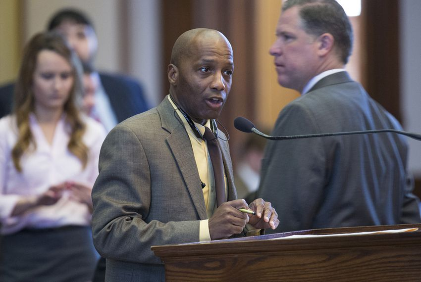 State Rep. James White, R-Hillister, speaks on the floor of the Texas House of Representatives on April 29, 2015.
