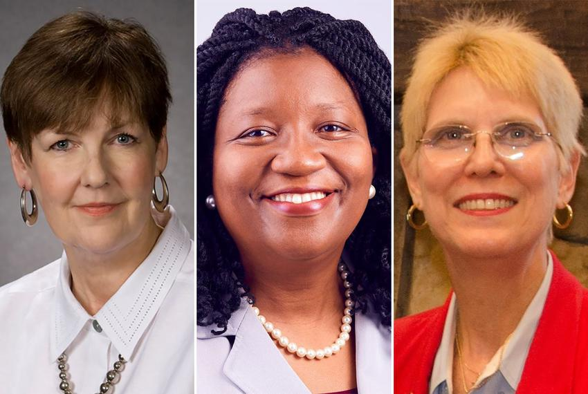 Left to right: State Board of Education District 11 incumbent Pat Hardy and her two Republican primary challengers, Feyi Oba…