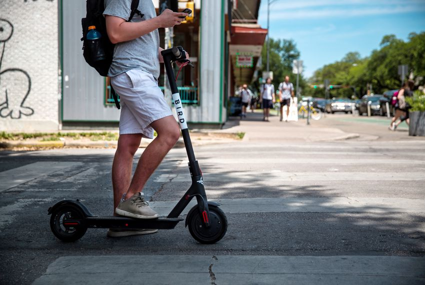 Motorized scooters on the University of Texas at Austin campus.