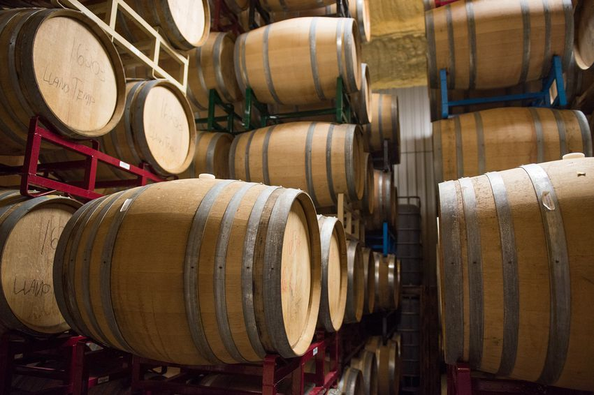 Barrels of wine at William Chris Vineyards in Hye, Texas, on Feb. 22, 2017.