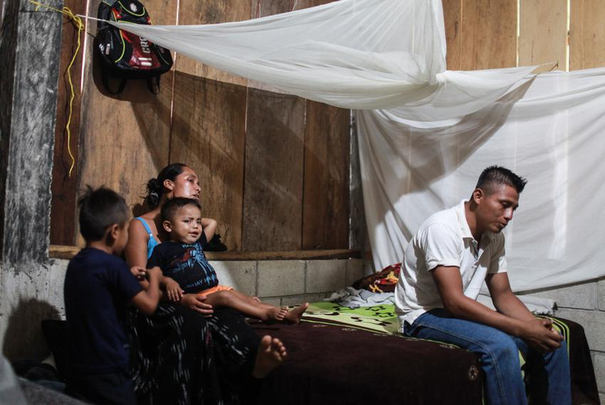 David Xol, his wife Florinda Bol and two of their sons at their home in San Miguel Limón. Xol made his way across Mexico wit…