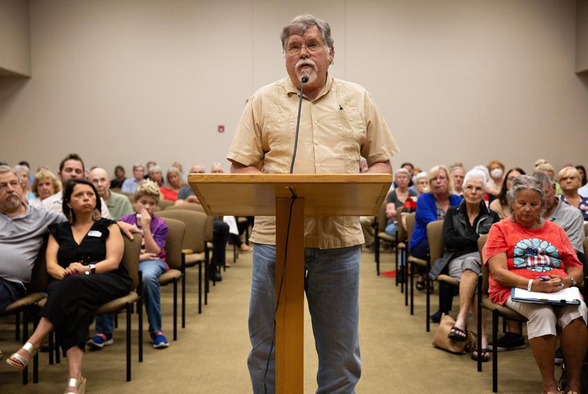 County Commissioner Dave Eagle speaks during the public comments of the Hood County Election Commission special meeting that…