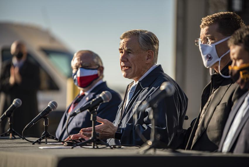 Gov. Greg Abbott speaks at a press conference in Austin on Dec. 17, 2020, regarding COVID-19  and the Pfizer vaccines that h…