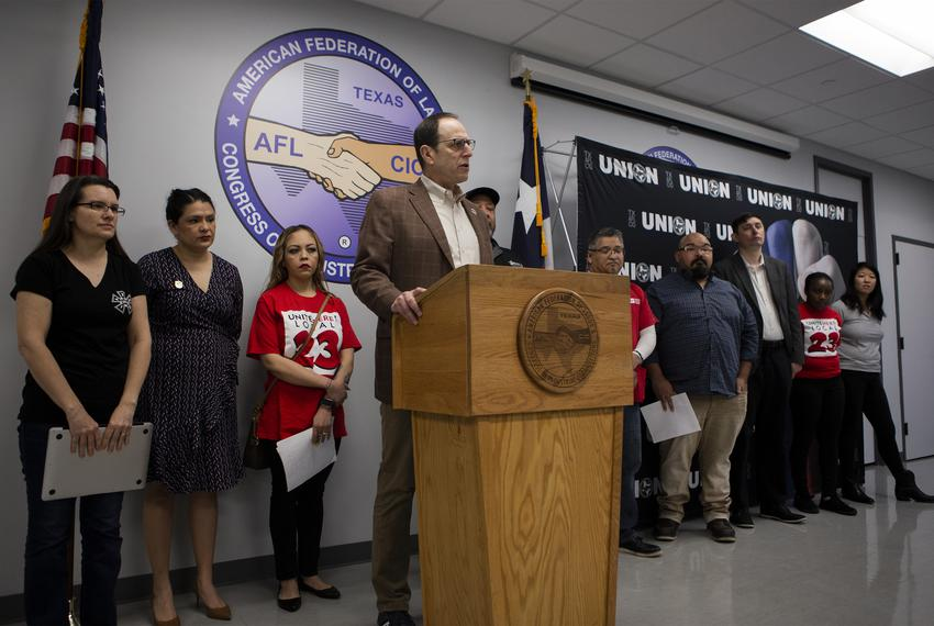 Texas AFL-CIO President Richard Levy, along with some representatives of Texasí working unions who face risks from the no...