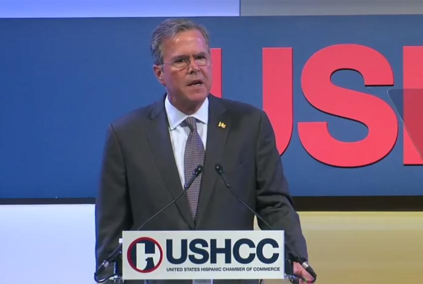 Presidential candidate Jeb Bush at the Women in Business & Leadership Luncheon at the United States Hispanic Chamber of Co...