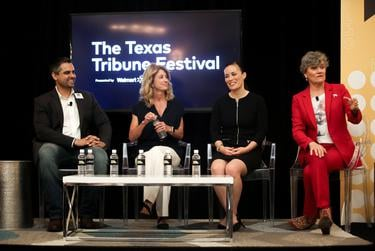 "Abby Livingston moderates the ""Democratic Do-Over"" panel with guests Wendy Davis, Sri Kulkarni, Kim Olson, Gina Ortiz Jones at The Texas Tribune Festival on Sept. 27, 2019."