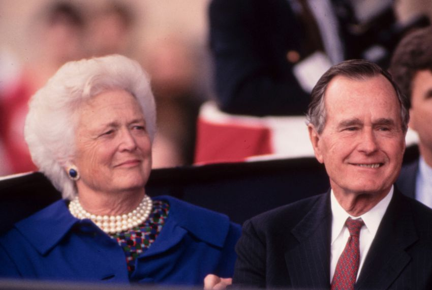 Former first lady Barbara Bush with her husband at the inauguration of her son as governor of Texas in 1999.