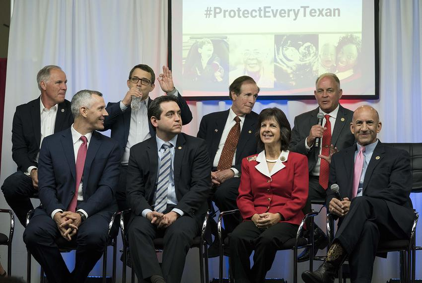 Members of the state House of Representatives Texas Freedom Caucus at the Republican Party of Texas convention in San Antoni…