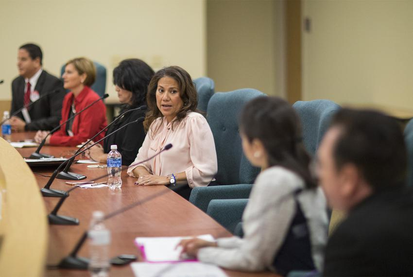 Veronica Escobar, Democratic candidate for U.S. Congressional District 16, speaks during a candidate forum in El Paso onS...